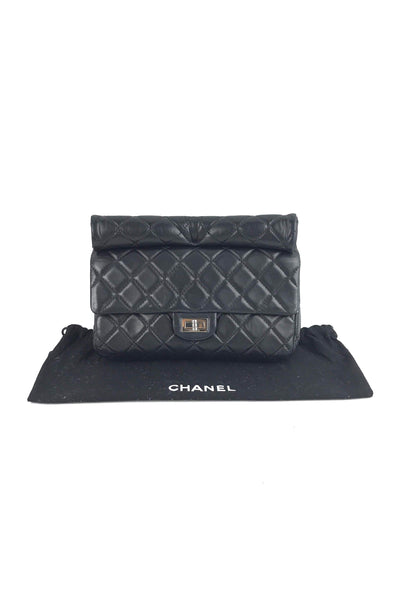 Black Lambskin Quilted Small Reissue Roll Clutch W/ SHW