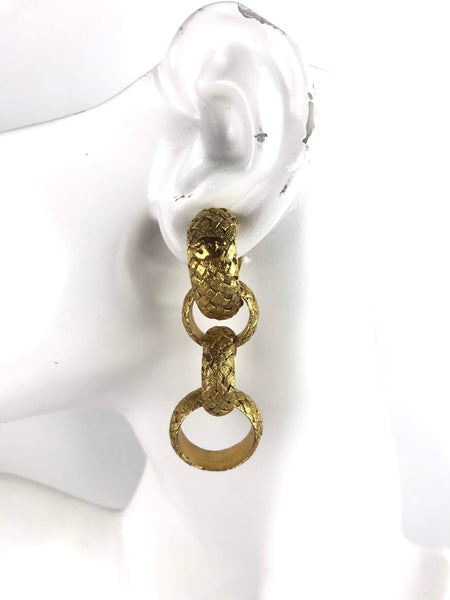 Gold Braid Pattern Drop Hoop Clip-On Earrings