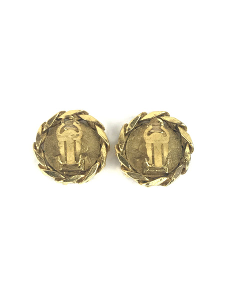 Gold/Crystal CC Clip-On Earrings