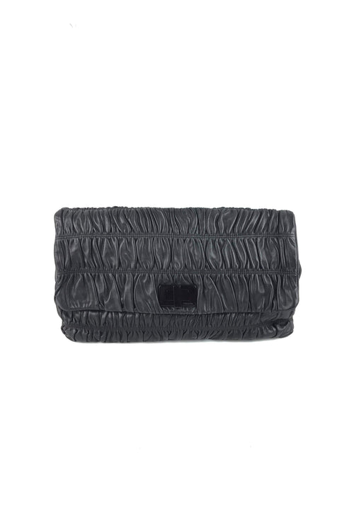 Black Nappa Gaufre Giant Leather Clutch W/ BEHW - Haute Classics