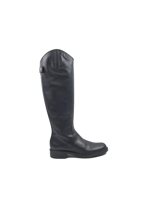 Black Leather Riding Boots W/SHW - Haute Classics