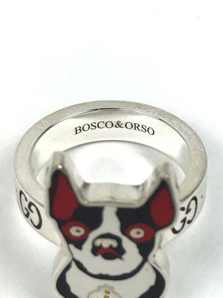 Bosco & Orso Dog Silver/Enamel Ring