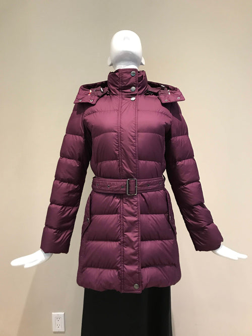 Brit Plum Quilted Puffer Mid Length Coat