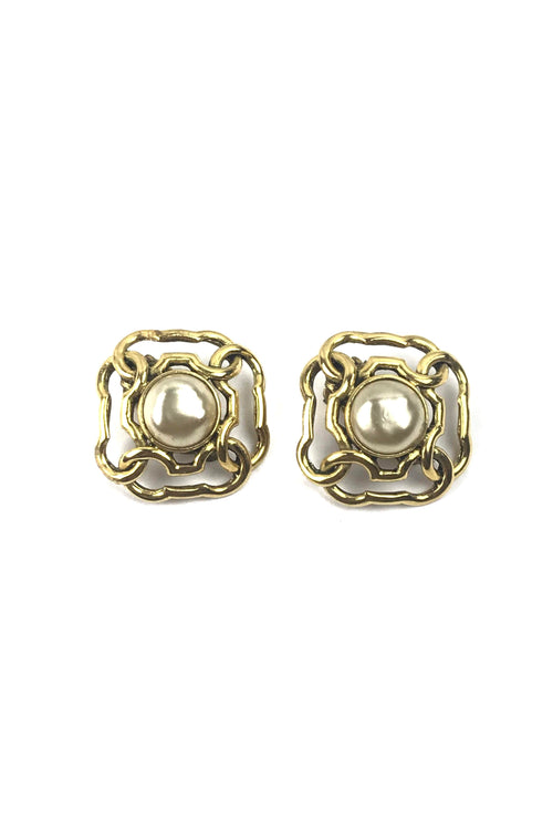 Gold Square W/ Pearl Accent Clip-On Earrings