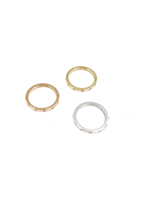 18k White & Yellow Gold Stackable Emprise Rings - Haute Classics
