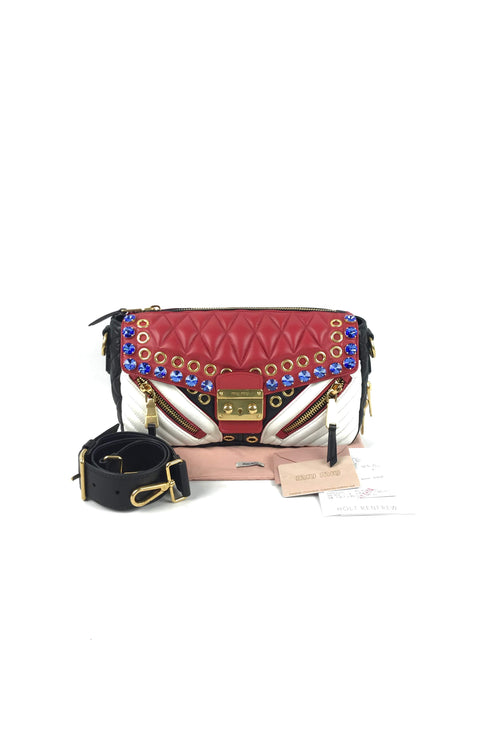Black/Red/White Nappa Leather Biker Cry Crossbody Bag w/ Crystal Embellishment & Zipper Detail - Haute Classics
