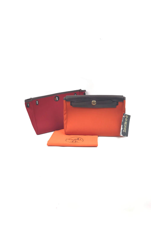 Orange/Red Reversible Brown Leather Herbag Clutch W/ GHW