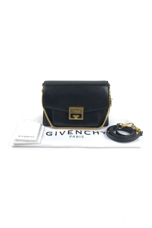 Black Goatskin Grained Leather/Suede GV3 Small Bag W/GHW