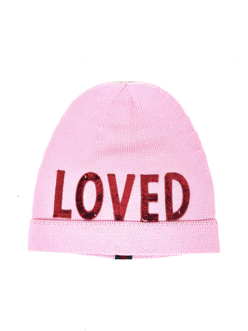 Light Pink 100% Wool Loved Beanie W/Red Sequins