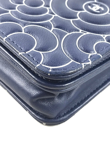 Navy Leather Printed Camelia Flower Pattern O-Mini Wallet On Chain W/SHW