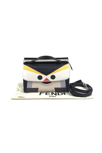 Multi-Color Cross-Grained Leather Demi Jour Penguin Mini Shoulder Bag