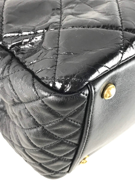 Black Shiny Crinkled Leather Two-Tone Hardware Mademoiselle Turnlock Chain Bag