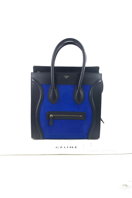 Tri-Colour Blue Nubuck & Leather Mini Luggage Tote W/ GHW