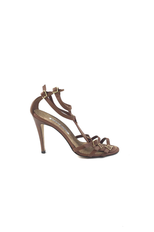 725984494ec3 Brown Leather Strappy Sandals W  GHW