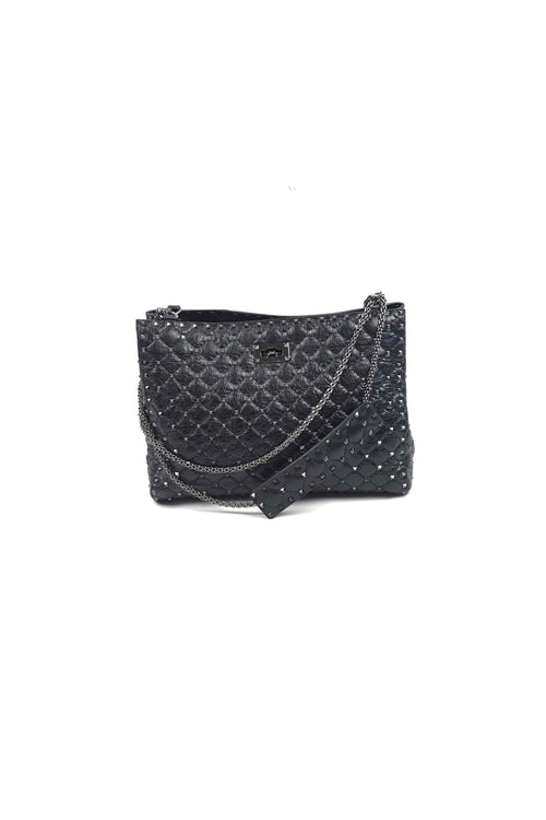 Black Cracked Lambskin Spike Shoulder Tote W/ SHW - Haute Classics