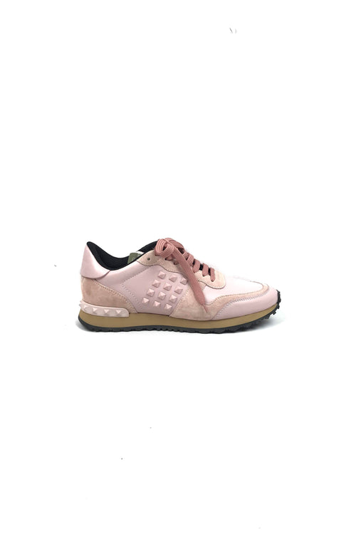Pink Leather & Suede Rockstud Runners
