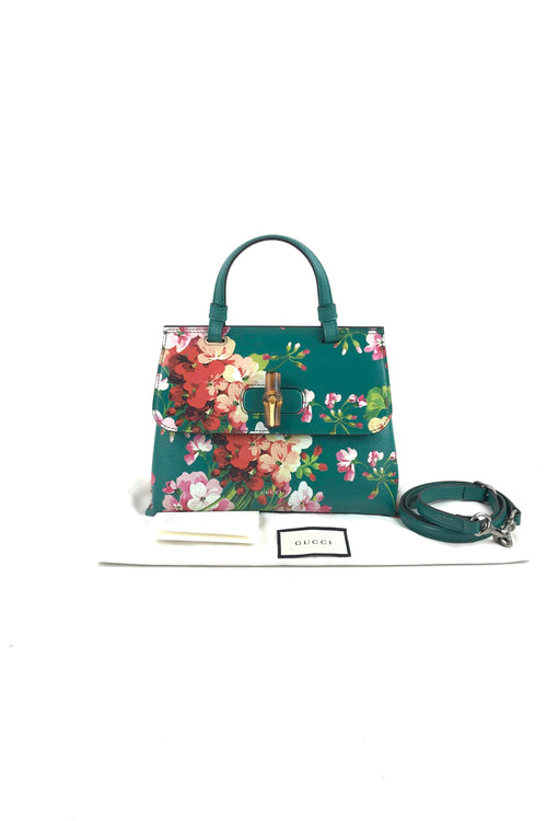 Cherry Blossom Print Bamboo Daily Top Handle Flap Bag