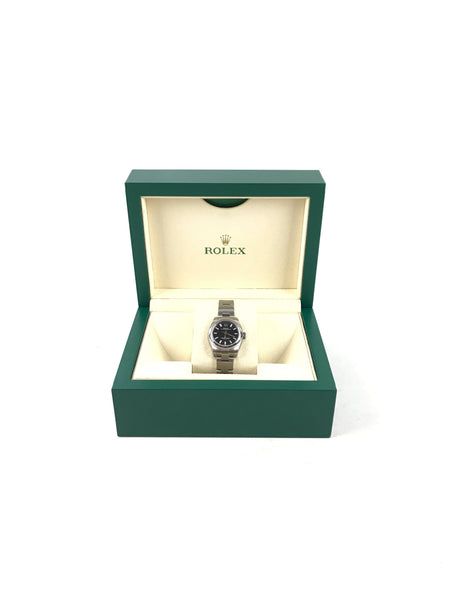 Rolex Stainless Steel Black Dial Oyster Perpetual 26 Watch
