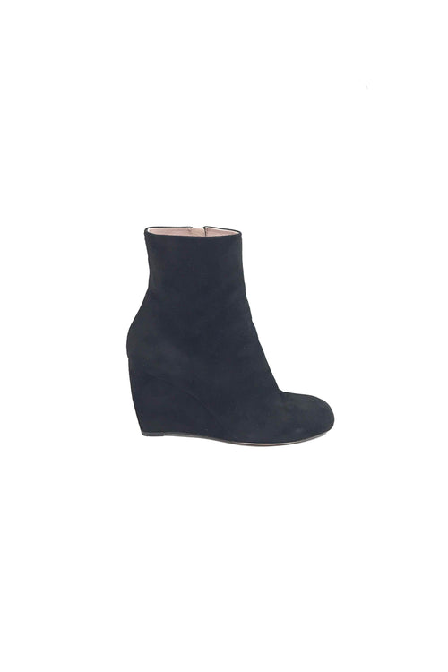 Black Suede Ankle Wedge Boots