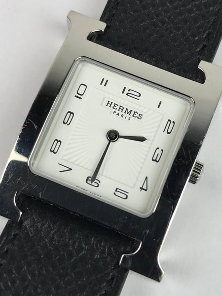 Black Epsom Leather Stainless Steel Heure H Double Tour Quartz Watch