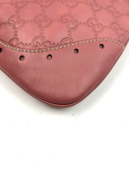 GG Dusty Rose Leather Gucissima Embossed Shoulder Bag W/LGHW