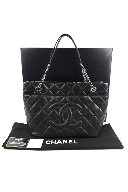 Black Caviar Quilted CC Timeless Shopping Tote