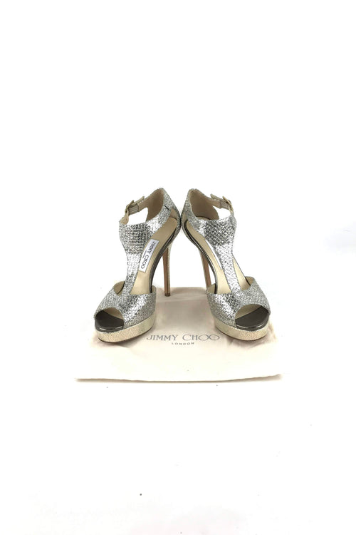Silver Crushed Glitter T-strap Pumps