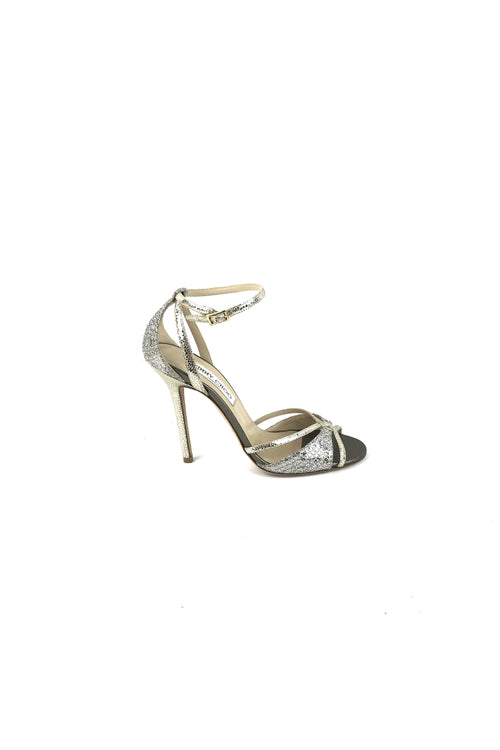Silver Crushed Glitter Strappy Sandals