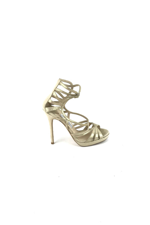 Metallic Gold Leather Sparkly Strappy Sandals