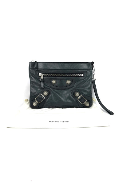 Grey Agneau Leather Wristlet w/ Giant 21 SHW