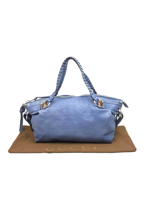 Light Blue Grained Leather Large Hobo Bag W/ SHW
