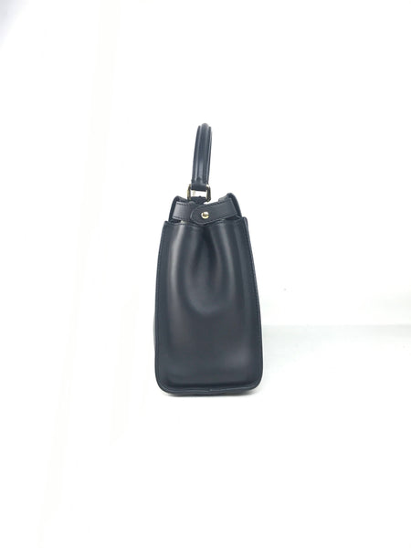 Black Smooth Calf Lambskin Leather Peekaboo Bag W/GHW
