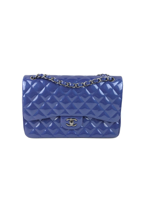 Metallic Blue Patent Leather Quilted Jumbo Double Flap Bag W/ RHW