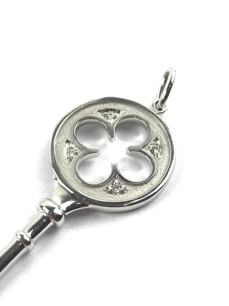 White Gold/4 Diamonds Large Clover Key Pendant