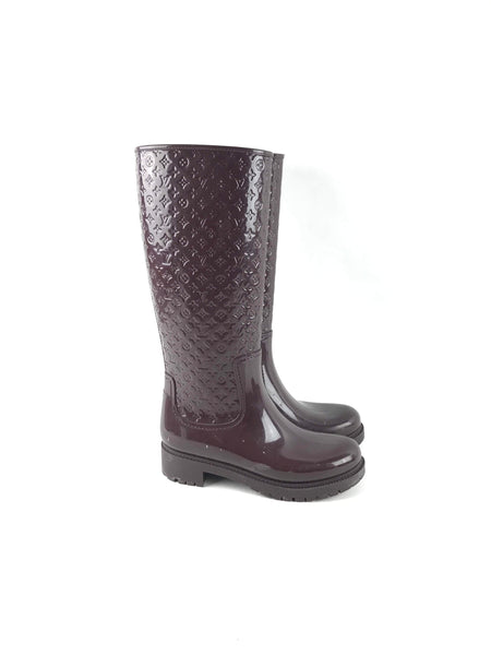 Burgundy Rubber Monogram Splash Rain Boots