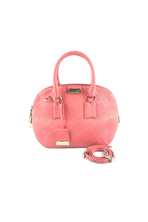 Coral Check Embossed Leather Orchard Bowling Bag W/ GHW