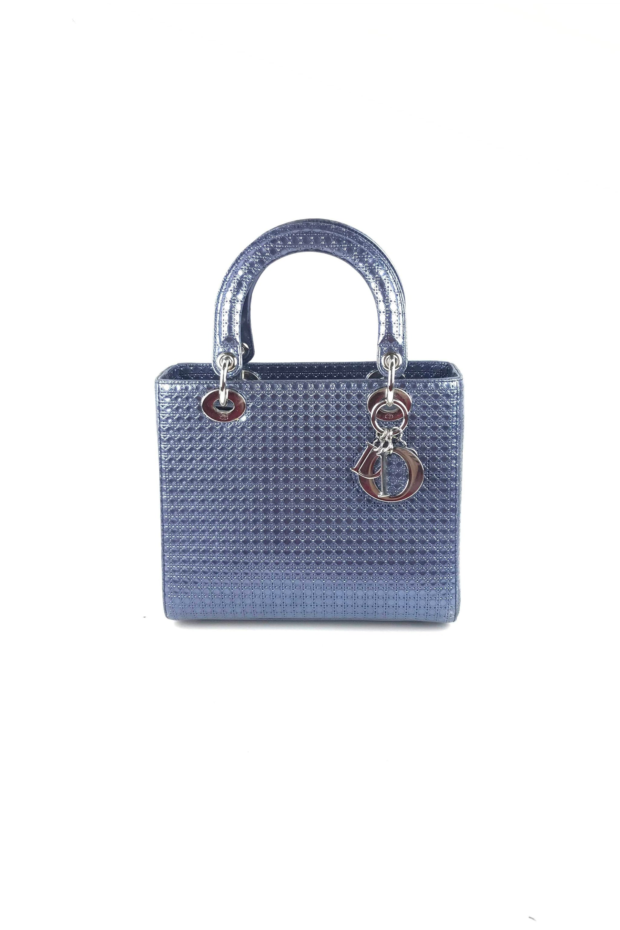 8e2eb2096e2 Metallic Blue Perforated Calfskin Micro-Cannage Medium Lady Dior W SHW –  Haute Classics