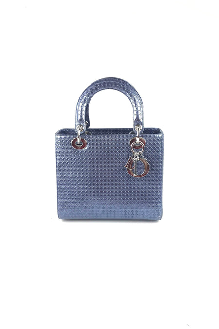 06e616b11 Metallic Blue Perforated Calfskin Micro-Cannage Medium Lady Dior W/SHW