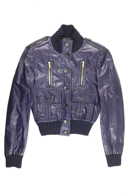 Navy Blouson Leather Bomber Jacket