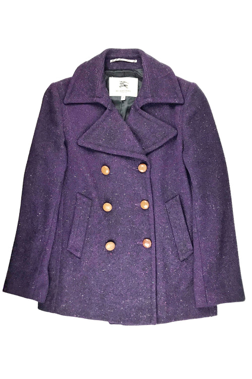 London Purple Wool Double Breasted Coat