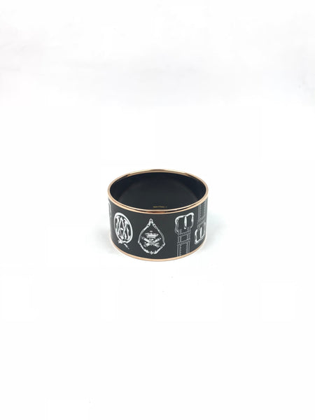 """Harnais des Presidents"" Rose Gold/Black/White Enamel Extra Wide Bangle"