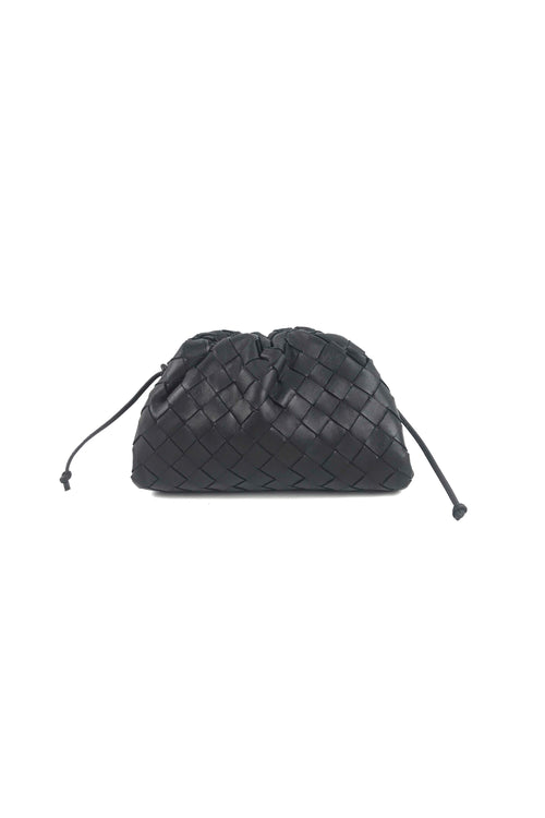 Black Weaved Leather Nappa Intrecciato Mini Pouch 20
