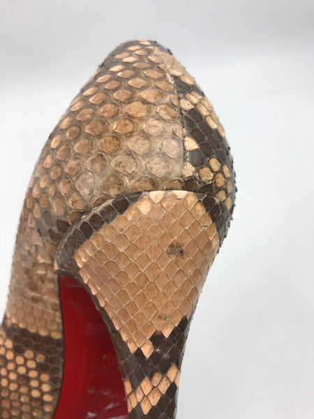 Brown/Beige Snakeskin Pumps
