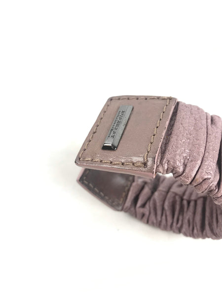 Light Purple Grained Ruffled Leather Cuff W/RHW