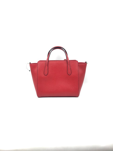 Red Grained Leather Mini Swing Tote Bag w/ Crossbody Strap