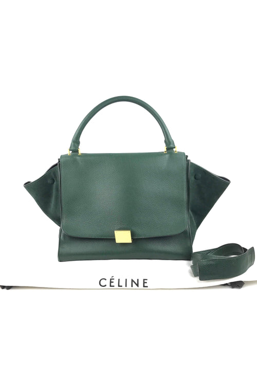 Green Bullhide & Nubuck Medium Trapeze Bag W/ GHW