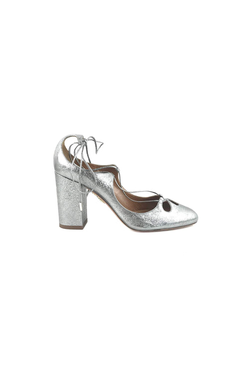 Metallic Silver Round Toe Lace-Up Pumps W/ SHW