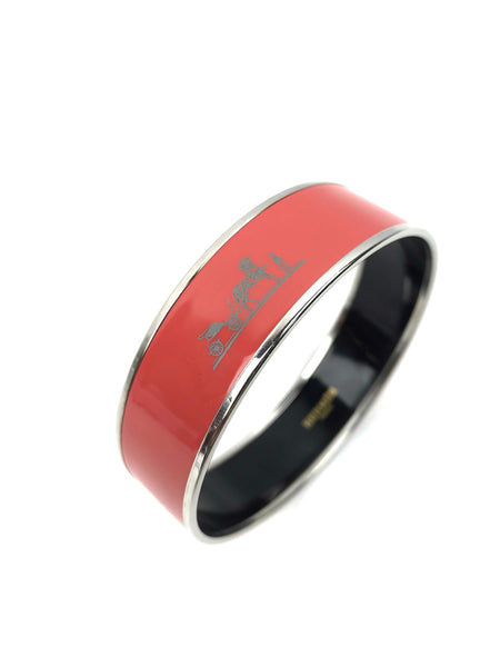Red Carriage Printed Enamel Bangle
