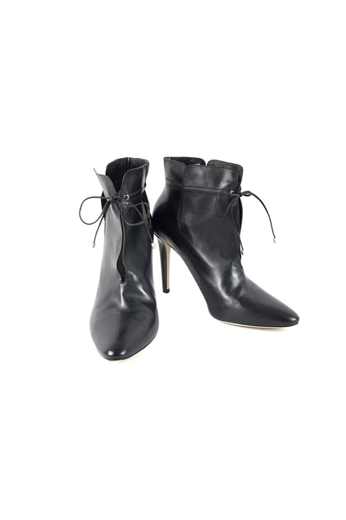 Black Leather Cut-Out Murphy 105 mm Ankle Boots