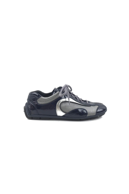 Blue Patent Leather & Metallic Silver Fabric Sneakers